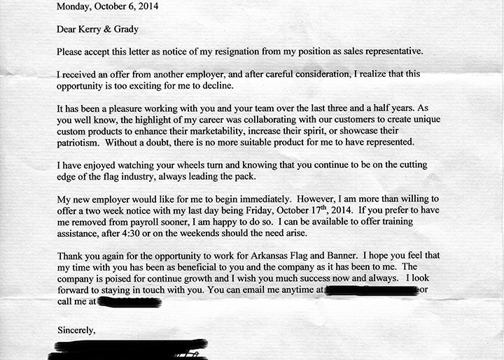 The perfect resignation letter.